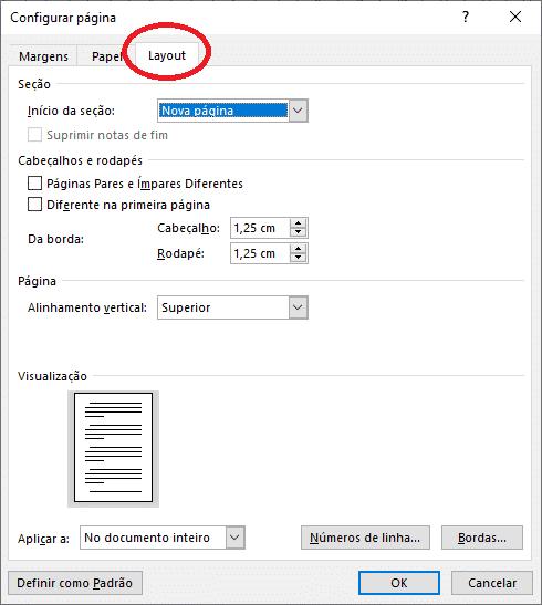 Aba Layout na janela configuração da página