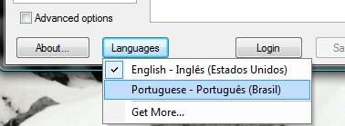 Escolha de idioma do WinSCP