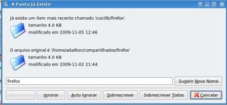 Caixa de diálogo informando que a pasta Firefox já existe