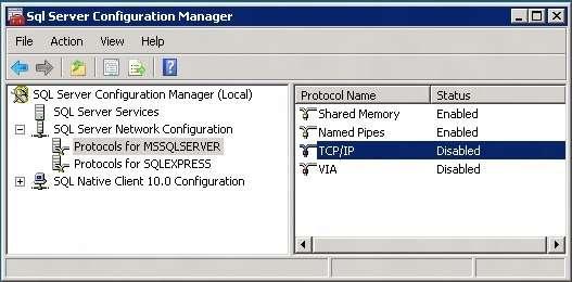 Ativiando o protocolo TCP/IP para o servidor SQL Server 2008