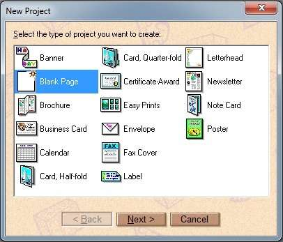 Escolhendo modelos de projetos no PrintMaster
