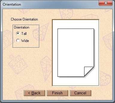 Escolhendo a orientação do papel no PrintMaster