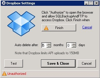 sql backup Dropbox settings
