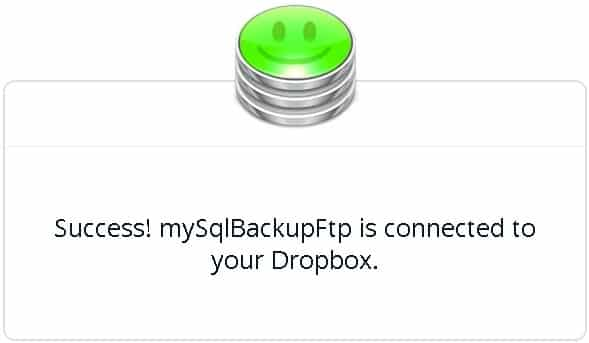sql backup Dropbox success