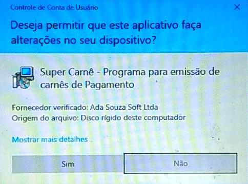 Mensagem de Segurança do Windows - Instaldor - Super Carnê
