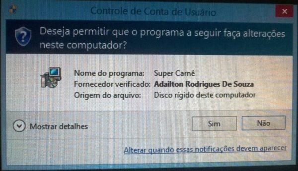 Instalando e atualizando o Super Carnê - Mensagem de segurança do Windows