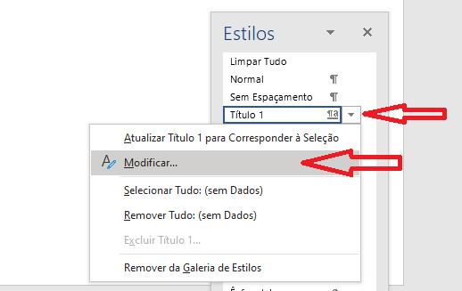 Criar sumário no Word - Editar estilos