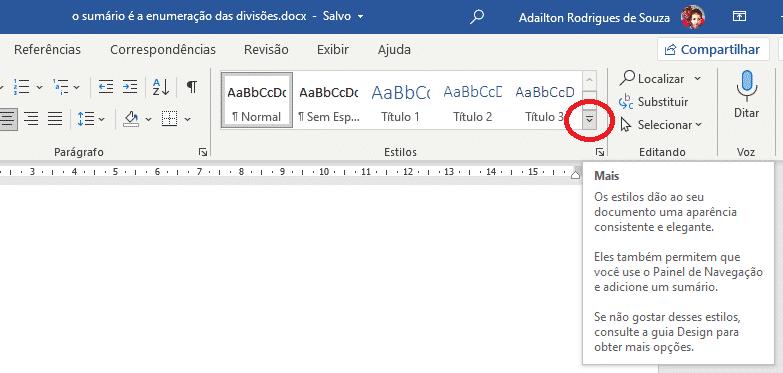 Criar sumário no Word - Estilos - Botão Mais