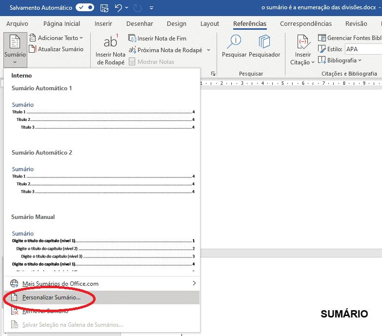 Criar sumário no Word - Personalizar sumário